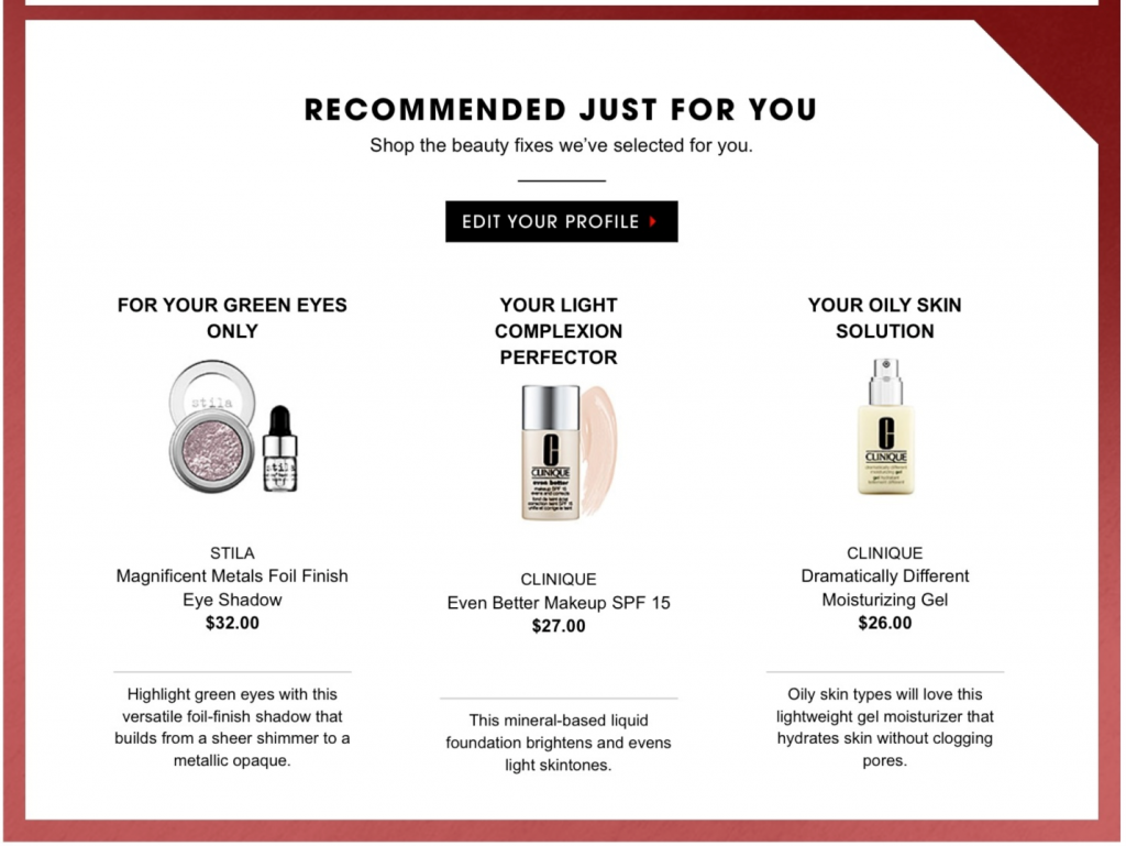 personalised recommendations
