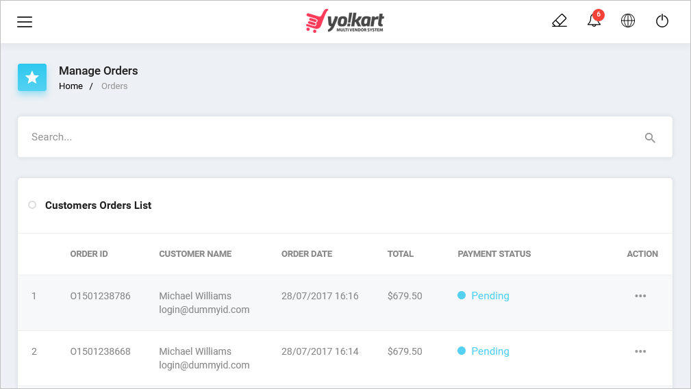YoKart Ecommerce Order Management