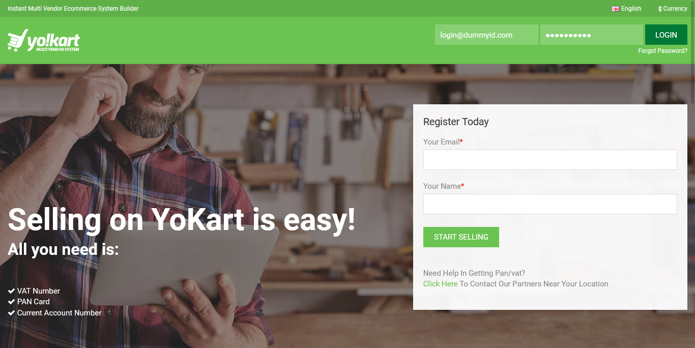 YoKart Ecommerce Seller Registration