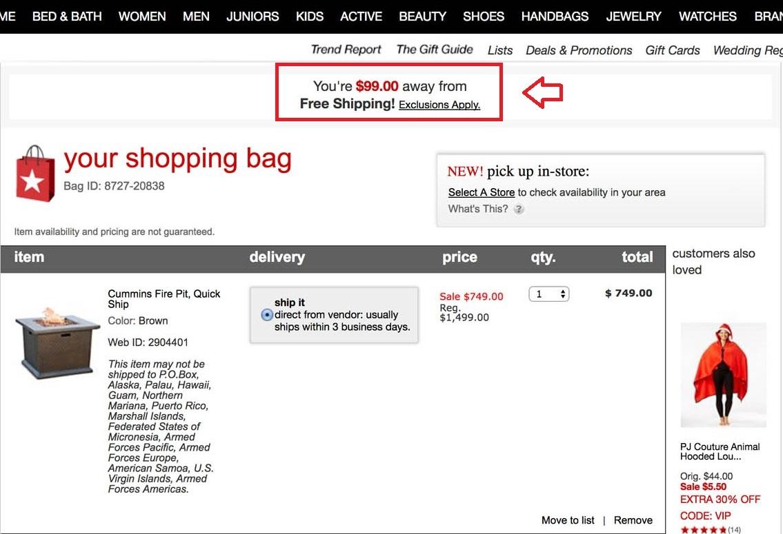 Shopping cart offer